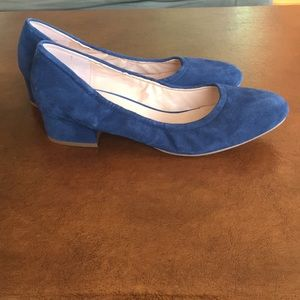 Franco Sarto blue suede block heels day heel